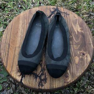 Stuart Weitzman Charcoal Black Toe Cap flats 7M